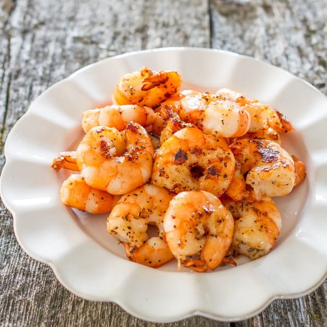Spicy Black Pepper Shrimp on a plate