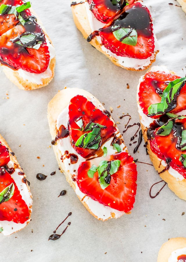 close up of Strawberry Basil Bruschetta on crostini