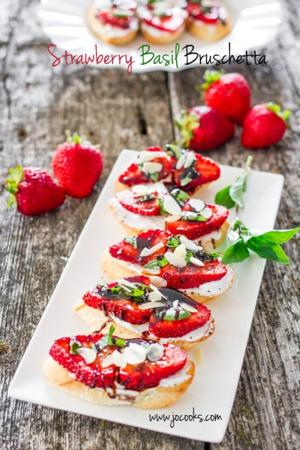plate full of strawberry basil bruschetta
