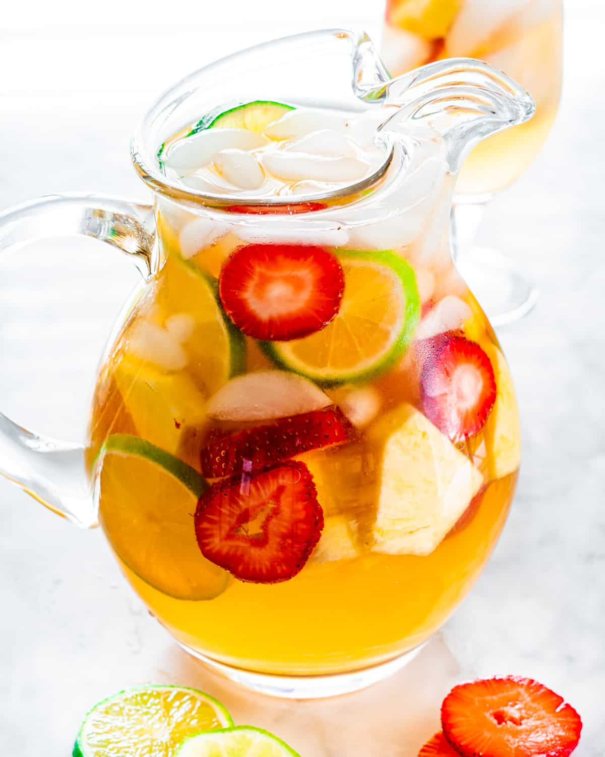 freshly made pitcher of white sangria