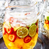 a gorgeous pitcher of freshly made white sangria