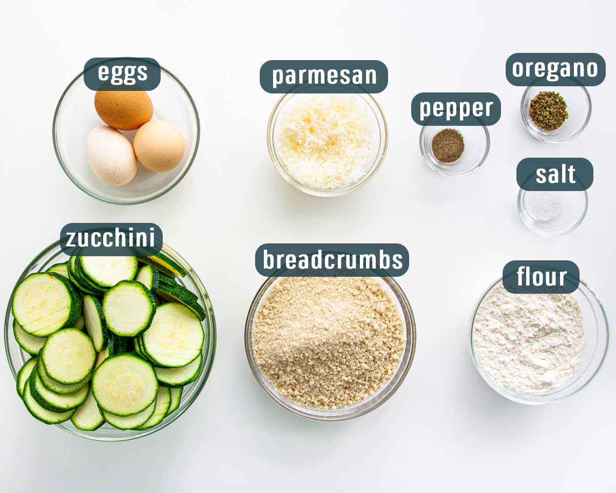 overhead shot of all the ingredients needed to make baked zucchini crisps