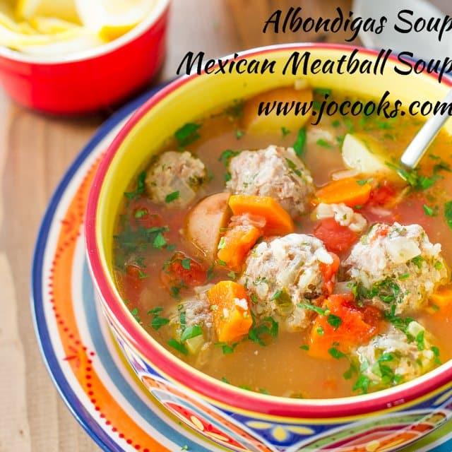 closeup of albondigas soup in a bowl