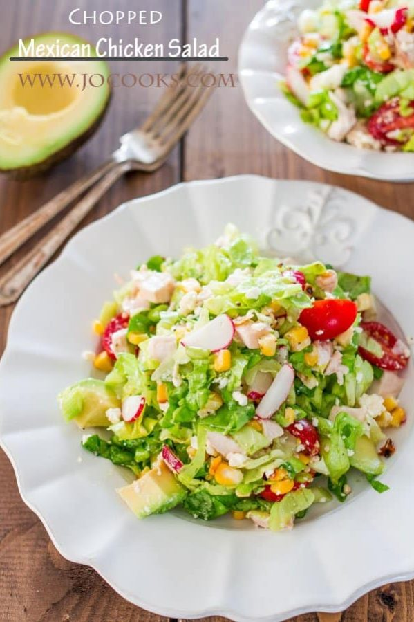 a plate of chopped mexican chicken salad