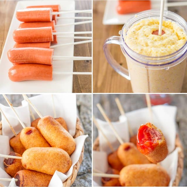 process shots for making mini corn dogs