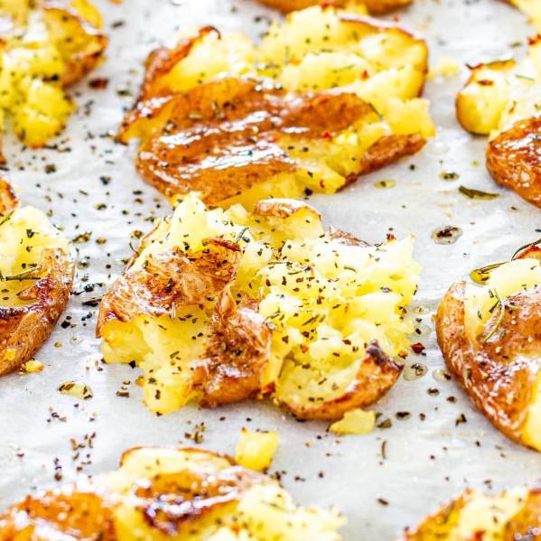 close up shot of rosemary smashed potatoes