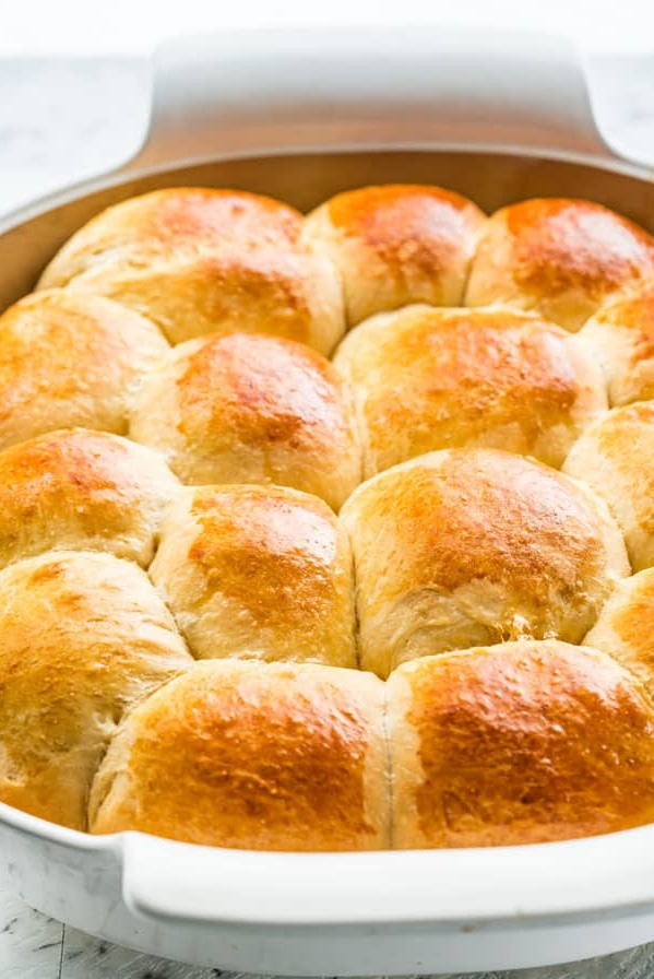 side view shot of hawaiian sweet rolls in baking dish