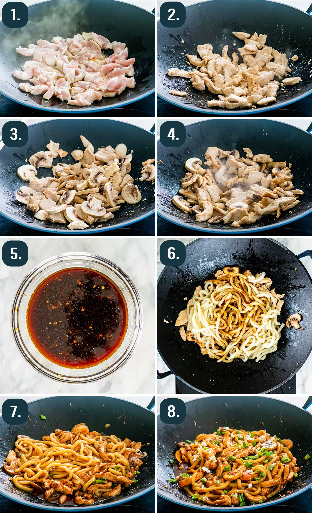 detailed process shots showing how to make hoisin chicken udon noodles