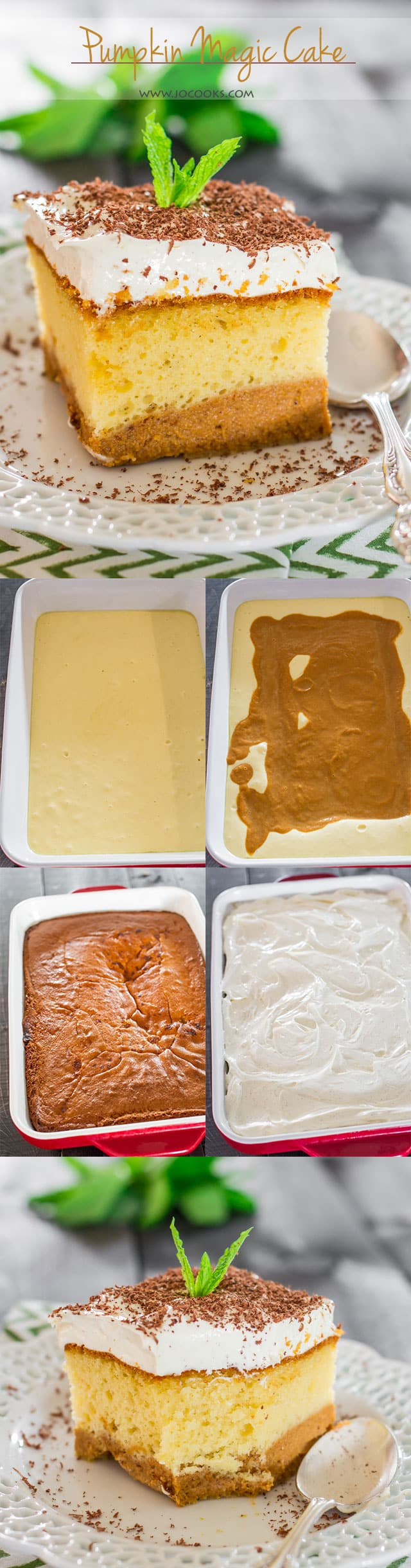 Pumpkin Magic Cake - the magic is in the batter as it separates during baking, creating 2 beautiful layers. To finish it off, top it with a pudding frosting.