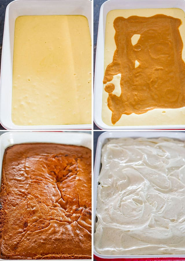 process shots of making pumpkin magic cake