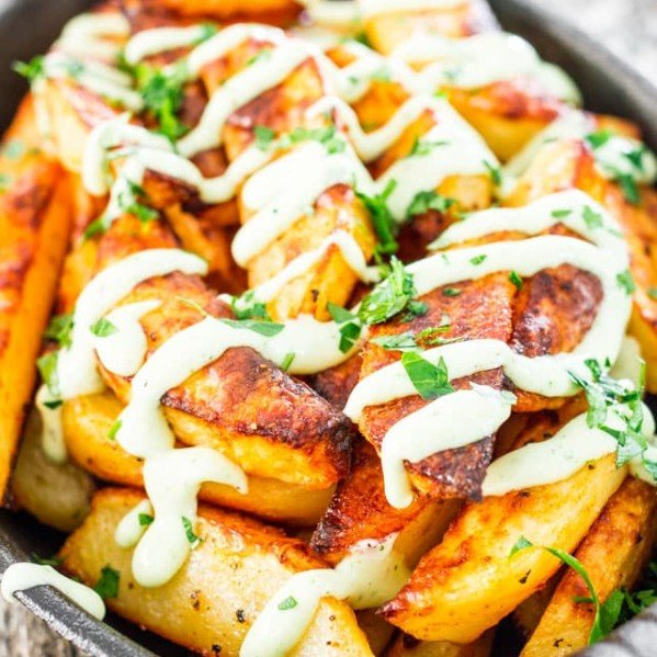 roasted potatoes topped with garlic aioli