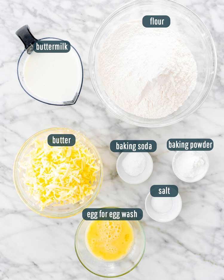 overhead shot of ingredients needed to make buttermilk biscuits