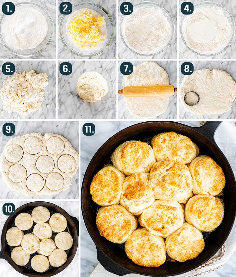 process shots showing how to make Buttermilk Biscuits