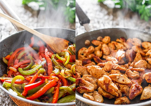 sauteing peppers and onions in a skillet and sauteing chicken in a skillet