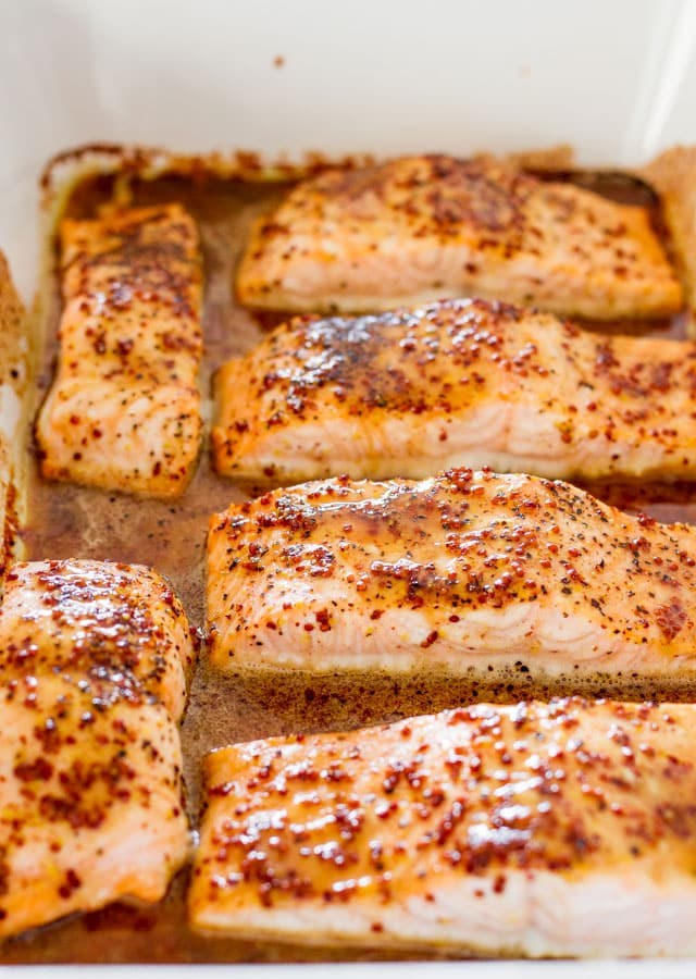 Maple Mustard Glazed Salmon fillets cooked in a baking dish