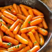 brandy glazed carrots in a skillet