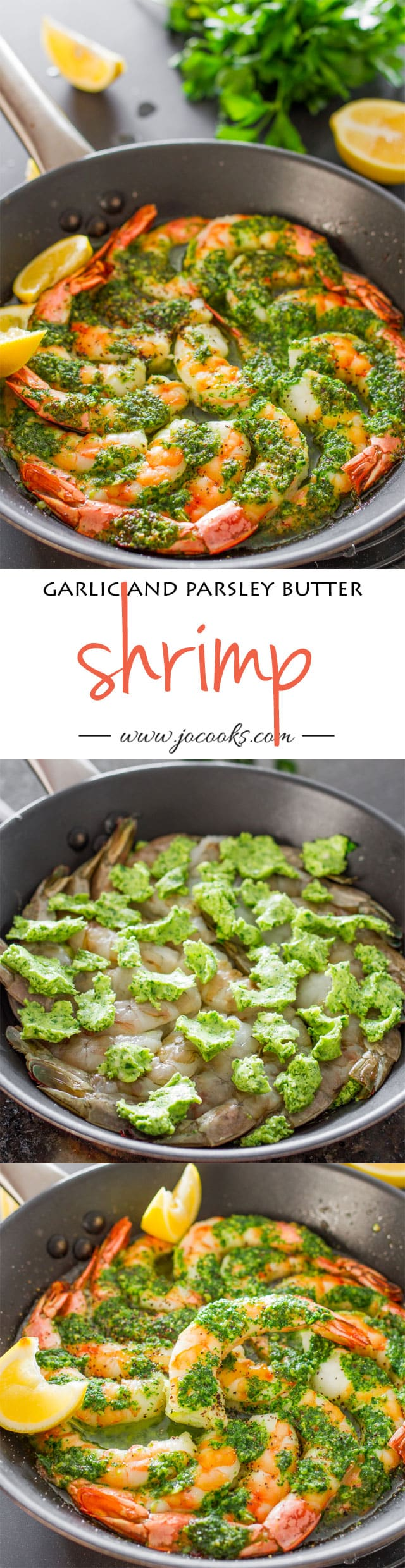Garlic and Parsley Butter Shrimp - gorgeous jumbo shrimp slathered in an exquisite garlic and parsley butter and baked to perfection. jocooks.com #shrimp