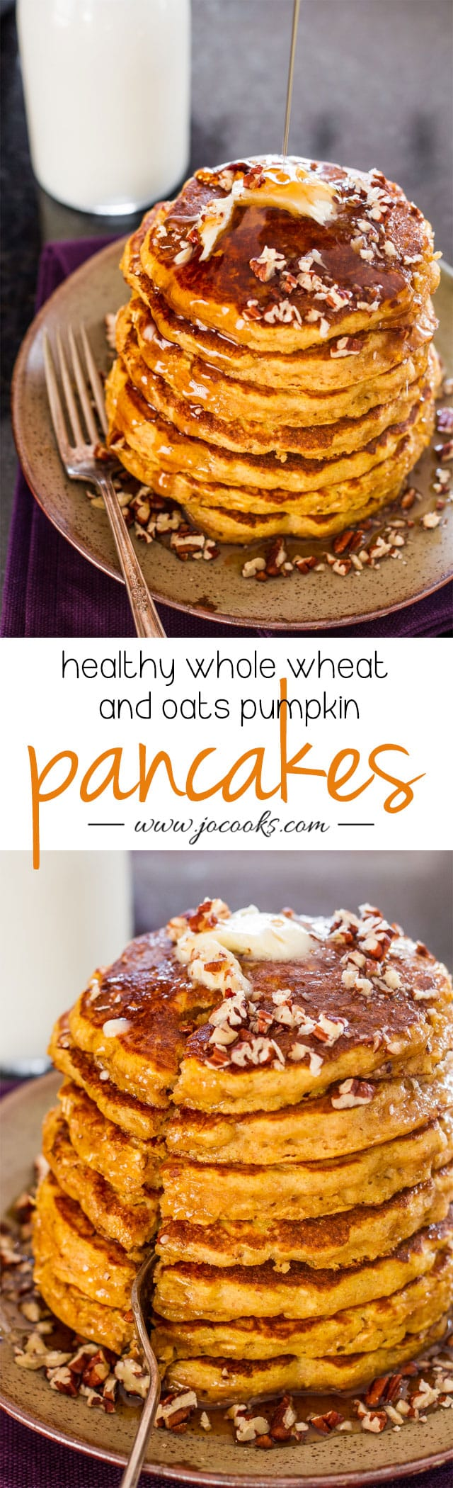 Healthy Whole Wheat and Oats Pumpkin Pancakes - super healthy pumpkin pancakes, no oil, no fat, no guilt whole wheat and oats pancakes.