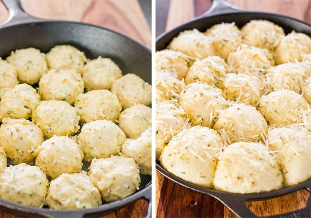 frozen bread rolls in a skillet before and after doubling in size