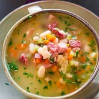 a bowl of leftover ham and bean soup