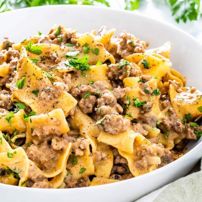 side view shot of beef stroganoff in a bowl