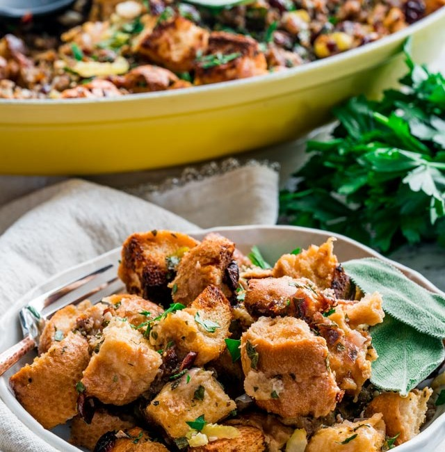side view shot of stuffing in a bowl