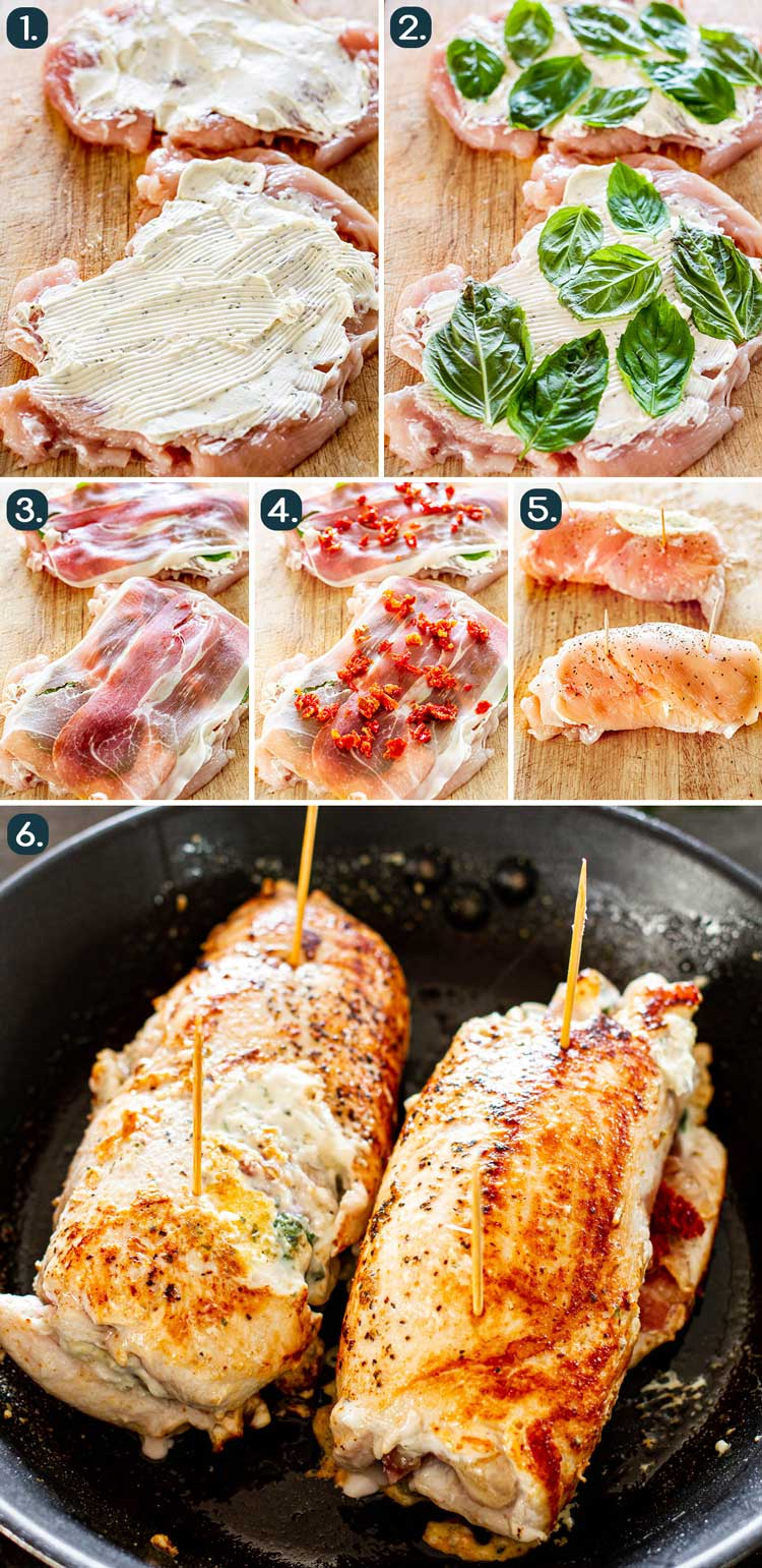 process shots showing how to make stuff chicken breasts