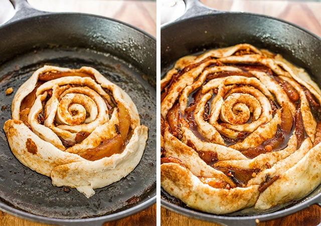 giant-skillet-cinnamon-rolls-with-caramelized-pears-collage