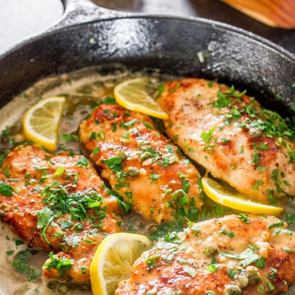 lemon chicken piccata in a skillet