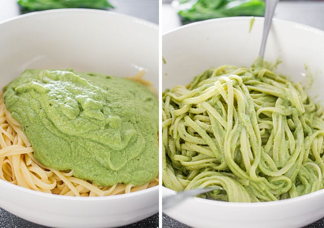 a bowl showing avocado and spinach pesto mixed with pasta