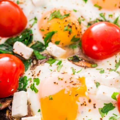 Mushroom Spinach and Goat Cheese Baked Eggs