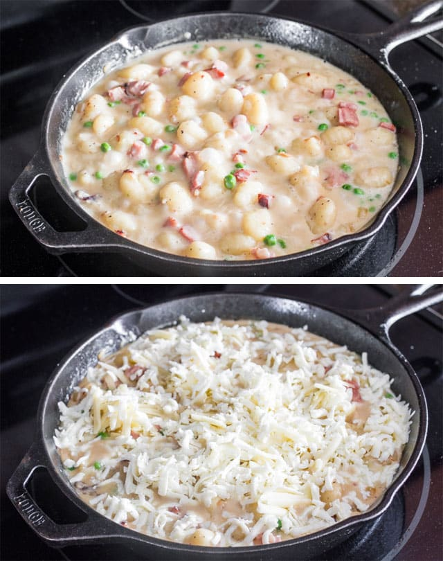 One-Skillet Ham and Cheese Gnocchi - delicious gnocchi paired together with ham and loads of cheese, perfect comfort food.