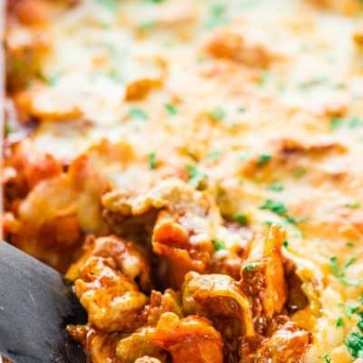 Cheesy Beef Tortellini Enchilada Casserole