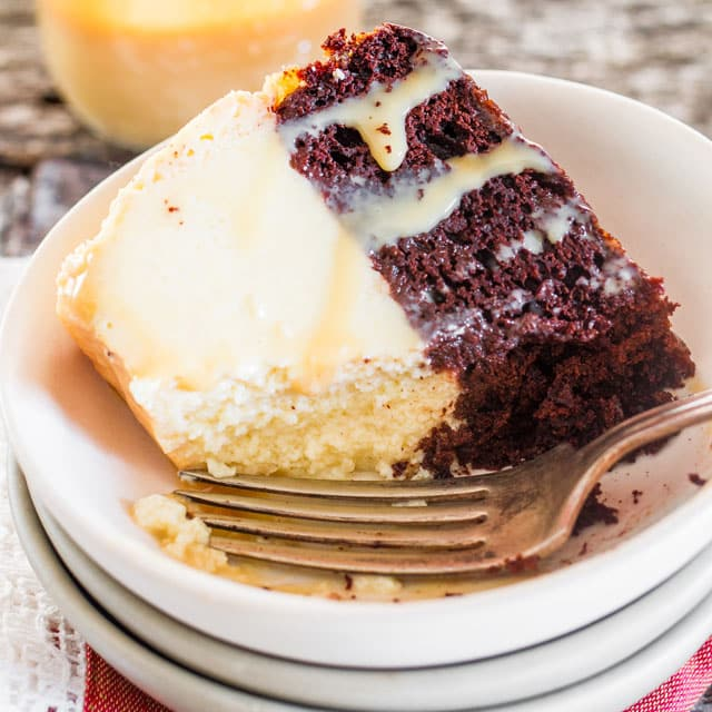 Magic Flan Cake - a delicious cake with a chocolate cake and flan cake layer. The magic happens when it bakes as the chocolate layer floats to the top and the flan to the bottom.