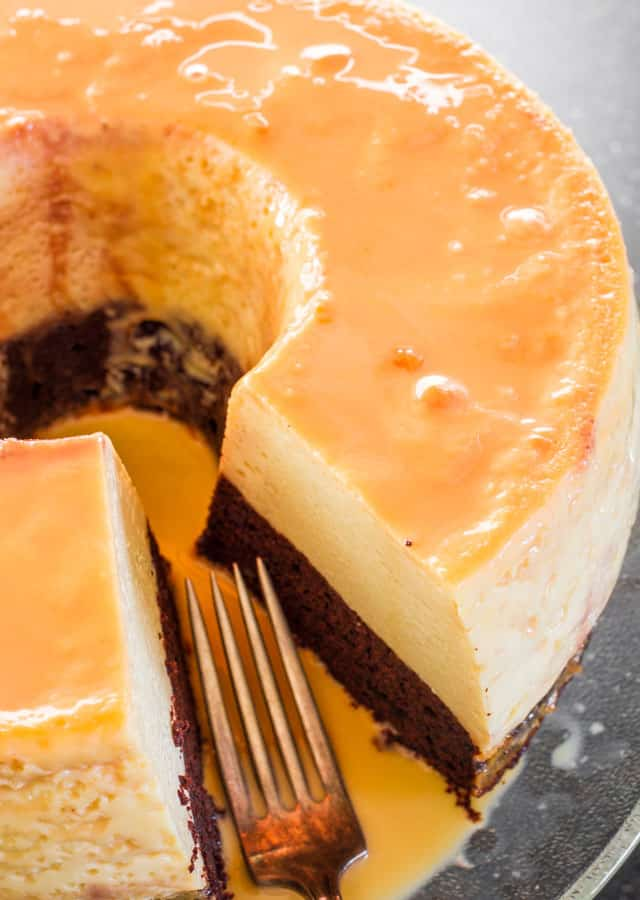 Close up of Magic Flan Cake with a slice taken from it