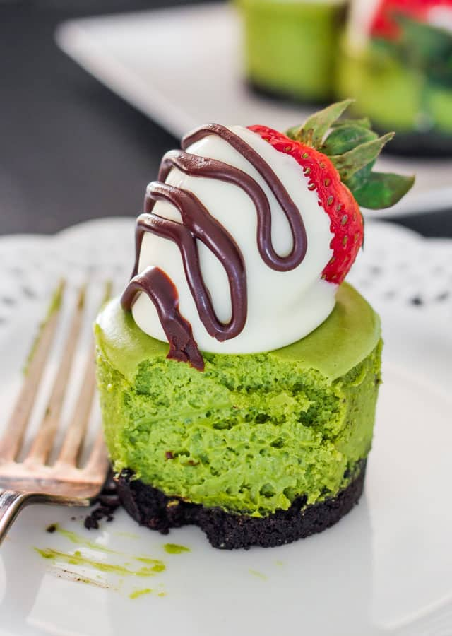 Matcha Mini Cheesecakes and White Chocolate Covered Strawberries