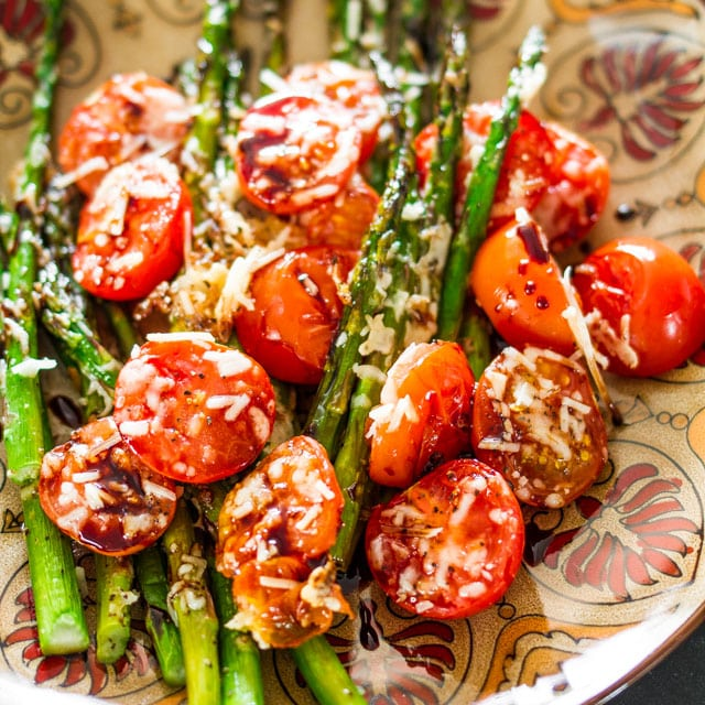 Balsamic Parmesan Roasted Asparagus and Tomatoes - Jo Cooks