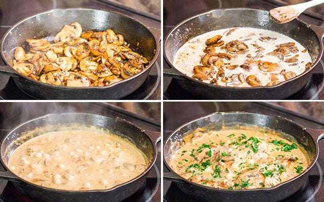 process shots of making Chicken in White Wine Sauce with Mushrooms