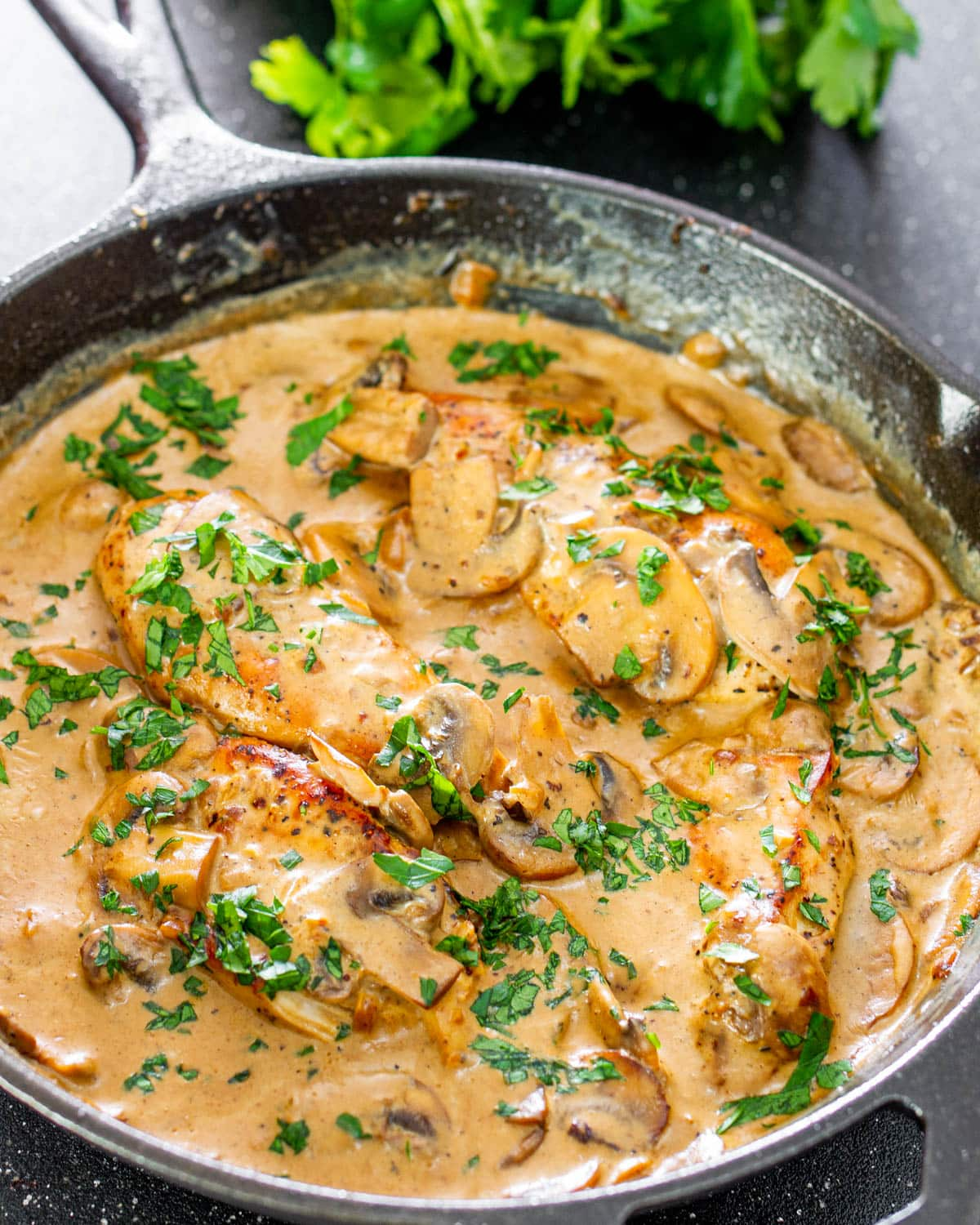 chicken in creamy white wine mushroom sauce in a black skillet garnished with parsley