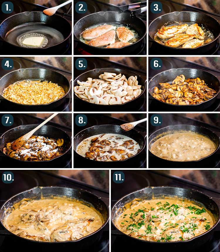 process shots showing how to make chicken in creamy white wine mushroom sauce