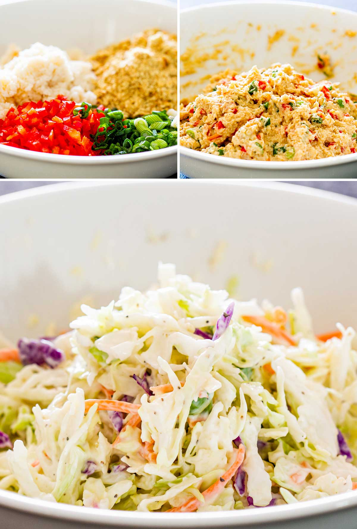 3 process shots showing how to make crab cake mixture and coleslaw