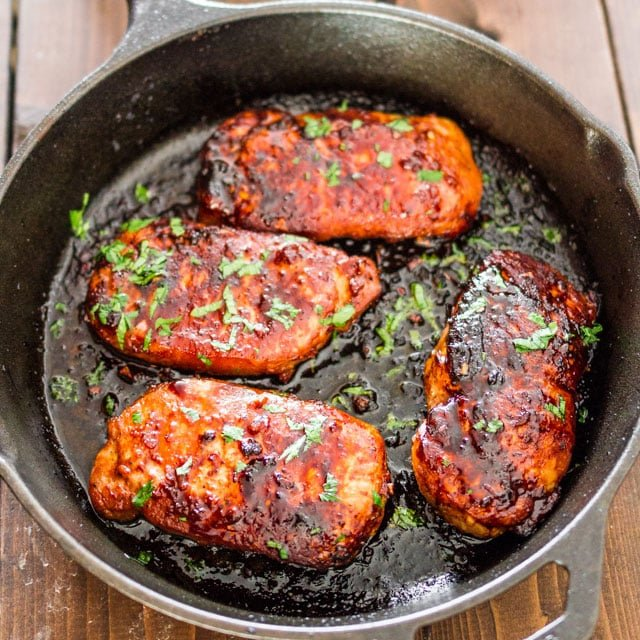 overhead Korean Style Pork Chops in a skillet