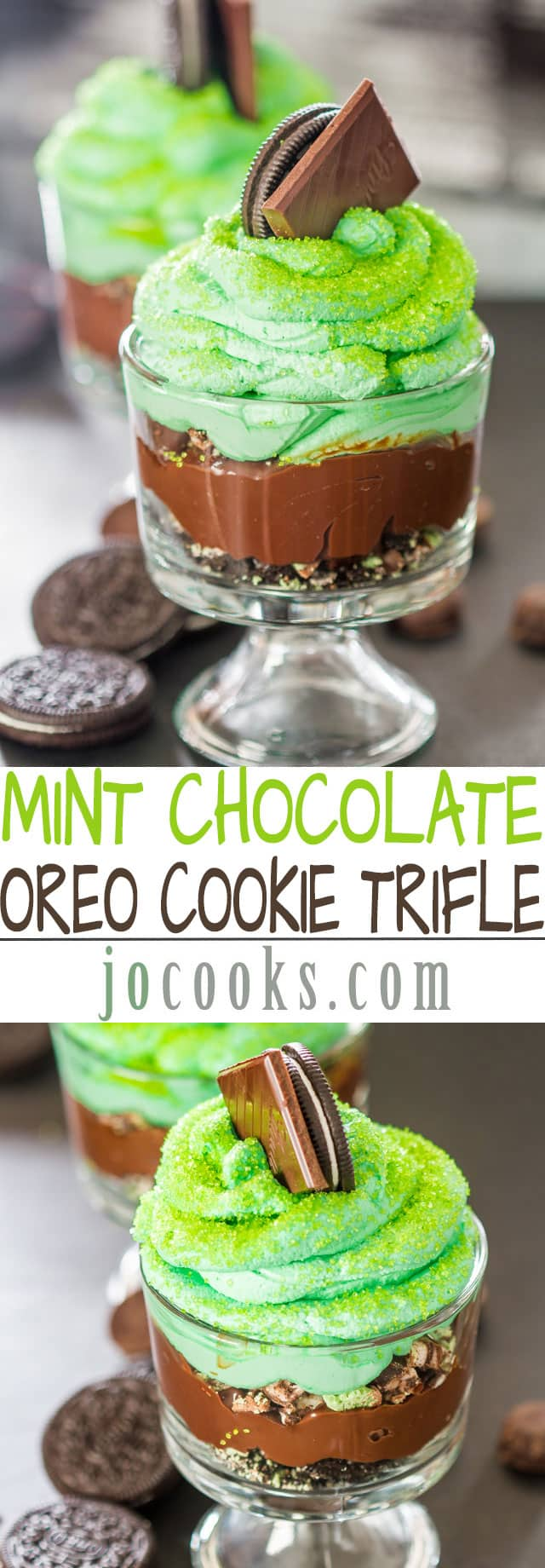 Mint Chocolate Oreo Cookie Trifle - delicious little sinful trifles perfect for St. Patrick's Day, loaded with mint chocolate and chocolate fudge pudding.