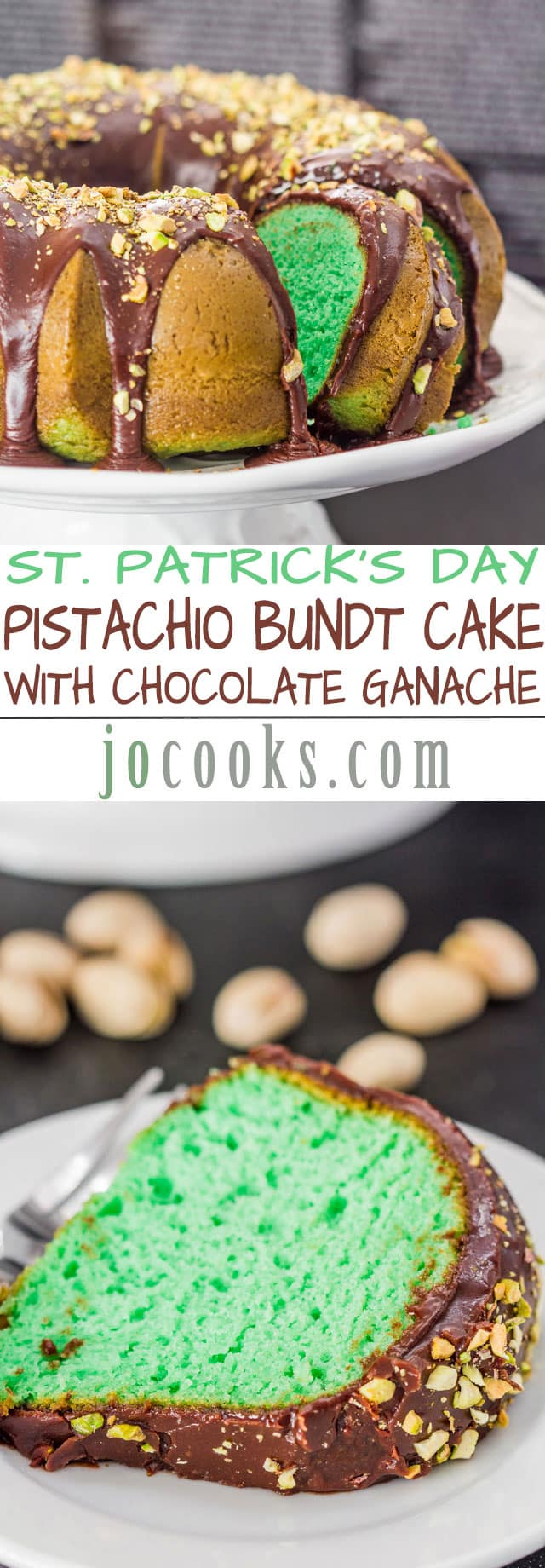 Pistachio Bundt Cake with Chocolate Ganache - perfect cake for St. Patrick's day. Soft, chocolaty, delicious and topped with pistachios.