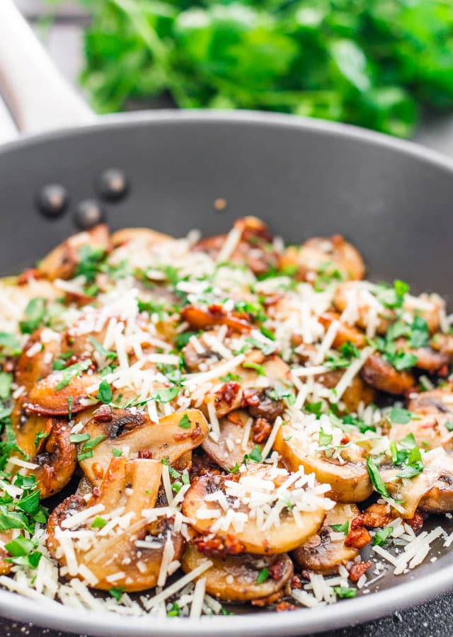 Sauteed Garlic and Parmesan Mushrooms - these mushrooms are so tasty and flavorful, and so simple to make, 10 minutes is all you need.