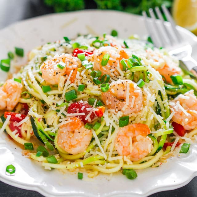 Shrimp Scampi Zoodles - take your favorite shrimp scampi dish and lighten it up with zucchini noodles. Same flavors, same deliciousness, but so much healthier and better for you.