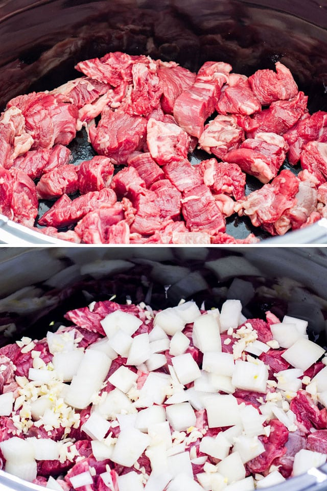 process shots of Slow Cooker Pepper Steak