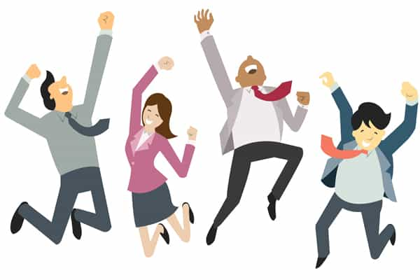 Happy and successful businesspeople, jumping in the air, business concept in teamwork and corporation.