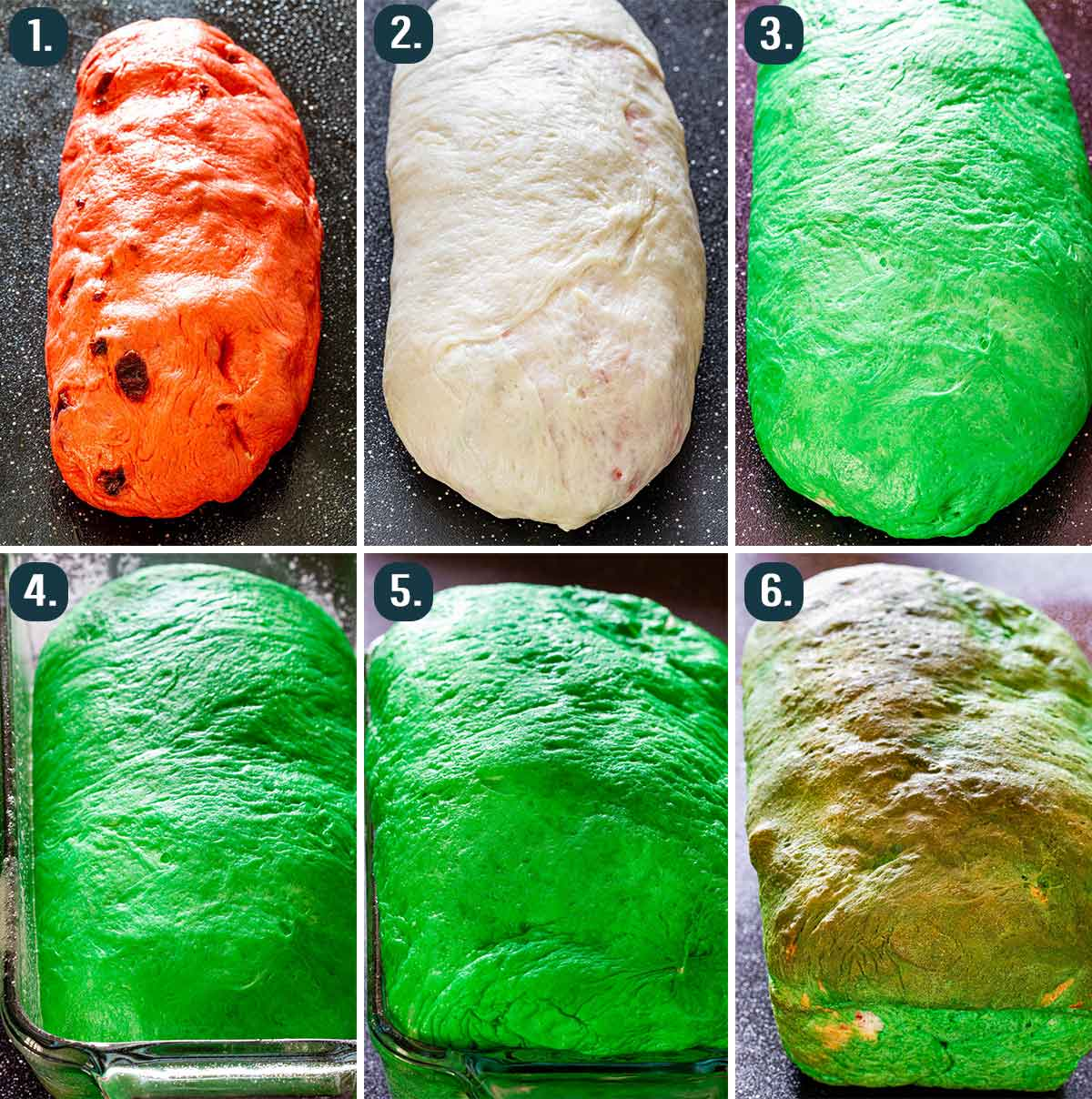 process shots showing how to assemble the 3 different colors of dough needed to make a watermelon loaf