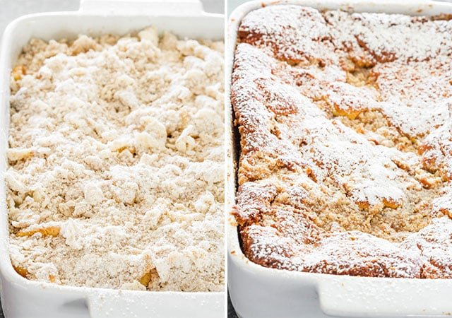 Apple Pie Cake before and out of the oven
